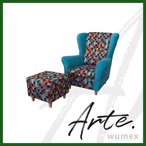 Fotel Uszak Lord + Pufa Podnóżek niebieski w kolorową kratkę – ARTE – TOP TEXTIL – ZESTAW – DARMOWA DOSTAWA