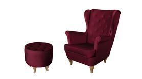 Fotel Velvet Uszak bordowy burgund rubin PROMOCJA wumex24 zestaw podnóżek pufa