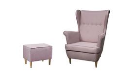 Fotel Kamea Uszak pudrowy różowy z pufą podnóżkiem ZESTAW