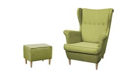 Fotel Kamea Uszak zielony z pufą podnóżkiem ZESTAW