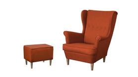 Fotel Kamea Uszak pomarańczowy z pufą podnóżkiem ZESTAW