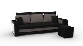 Kanapa Malibu rozkładana z funkcją spania i pojemnikiem na pościel, półką oraz pufą