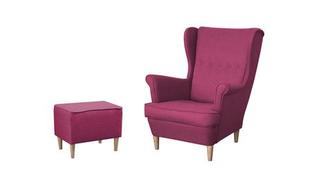 Fotel Kamea Uszak różowy z pufą podnóżkiem ZESTAW