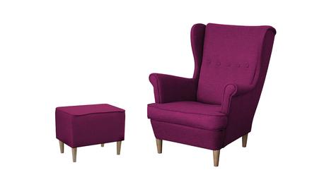 Fotel Kamea Uszak fioletowy z pufą podnóżkiem ZESTAW