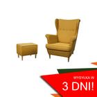Fotel Kamea Uszak żółty z pufą podnóżkiem ZESTAW