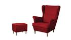 Fotel Kamea Uszak czerwony z pufą podnóżkiem ZESTAW