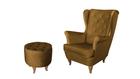 Fotel Velvet Uszak żółty złoty miodowy PROMOCJA wumex24 zestaw podnóżek pufa